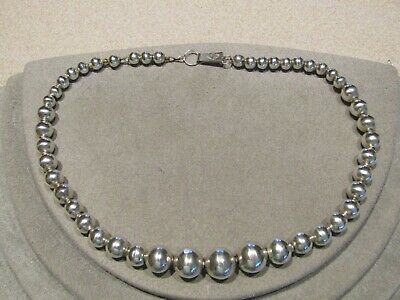 Vintage Sterling Silver Graduated Ball Bead Necklace CMB Mexico 15.5""