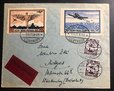 1921 Free City Danzig Early Airmail Cover Sc #C5 Trade Fair Labels To Stuttgart