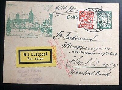 1927 Danzig Stationery Postcard Airmail cover To Halle Germany Johanniskirche