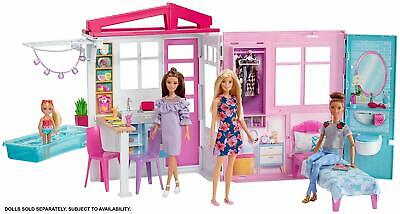 Barbie FXG54 Dollhouse, Portable 1-Story Playset, with Pool,