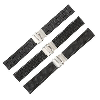 20-24mm Waterproof Silicone Rubber Wrist Watch Strap Band Deployment Buckle Chic