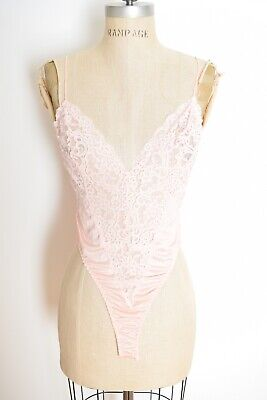 vintage 80s teddy pink sheer lace lingerie bodysuit negligee one piece XS S