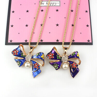 Fashion Jewelry Vintage Womens Bow CZ Crystal Long Chain Long Necklaces Pendants