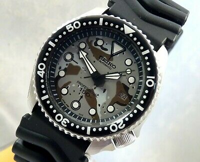 Seiko Ceramic Military Urban Camouflage Divers Automatic Date Watch Custom 7002