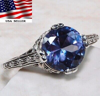 2CT Color Changing Alexandrite 925 Sterling Silver Art Deco Ring Jewelry Sz 8