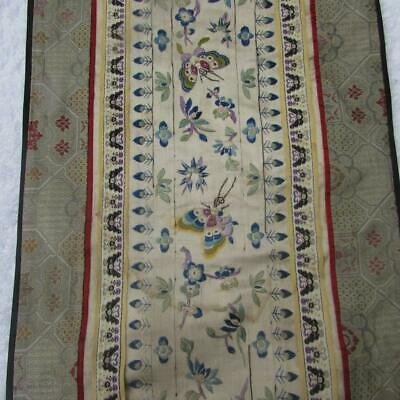 Finest Antique Chinese Hand Embroidered Silk Panel - Very Detailed