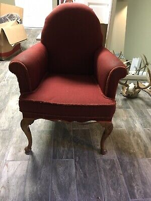 Antique English Rolled Arm Chair Vintage Red Upholstery With Trim