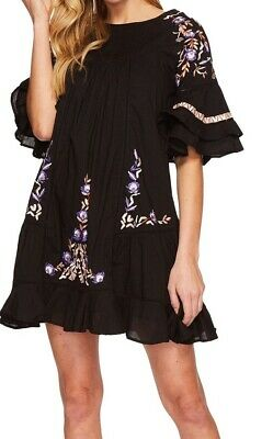 Free People NEW Black Women Size Large L Floral Embroidered Shift Dress $128 797