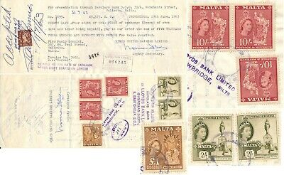 London 1963, Bill Of Exchange, Malta Stamps Used As Revenues Incl. 1 £ Val! #B16