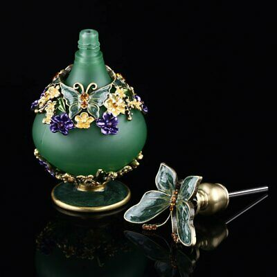 Antique Empty Butterfly Crystal Metal Art Deco Perfume Bottle Wedding Gift 23ml