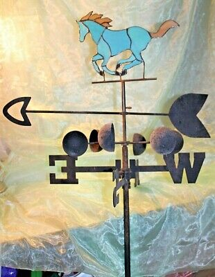 Large Vintage Style Stained Glass TROTTING HORSE/Arrow/Directional Weathervane
