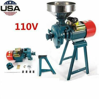 110V Electric Feed/Flour Mill Cereals Grinder Grain Corn Wheat Wet&Dry