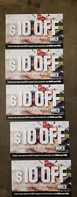 5 Dick's Sporting Goods $10 off $50 coupons expire 1/31/20 SAVE $50 STORE ONLY!