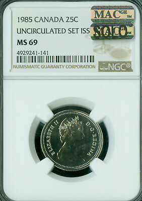 1985 Canada 25 Cents Ngc Mac Ms69 Pq Finest Grade Spotless  *