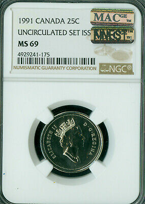 1991 Canada 25 Cents Ngc Mac Ms69 Pq Finest Grade Spotless  *