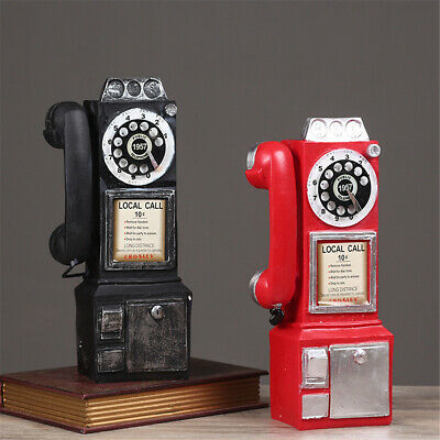 Antique Call Rotary Dial Pay Phone Model Vintage Phone Booth Telephone Figurine