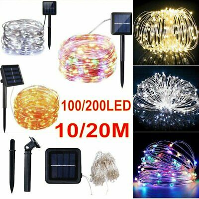 200 LED Solar Power Fairy String Lights Copper Wire Outdoor Party Garden Decor