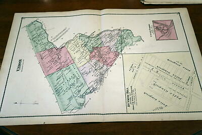 1875 Rare Antique Beers Lebanon County Atlas Map Of Union Township-Handcolored