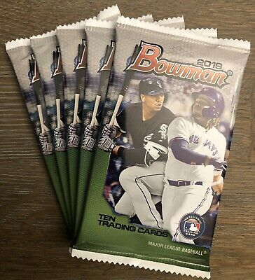 (5) Pack Lot 2019 Bowman Baseball From MEGA Box Retail Chrome Prospect