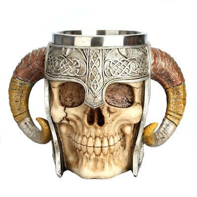 3D Skull Cup Beer Tea Coffee Beverage Stainles Steel Mug Viking Warrior Skull UK