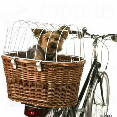 Bicycle Pet Basket Dog Cat Carrier W/ Wire Durable Wicker Bike Travel Box