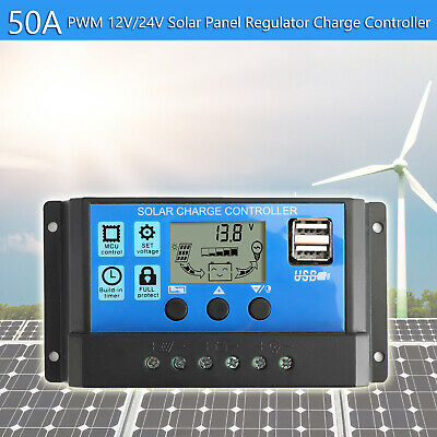 50A Solar Panel Battery Regulator Charge Controller PWM LCD Dual USB 12V/24V TZ3