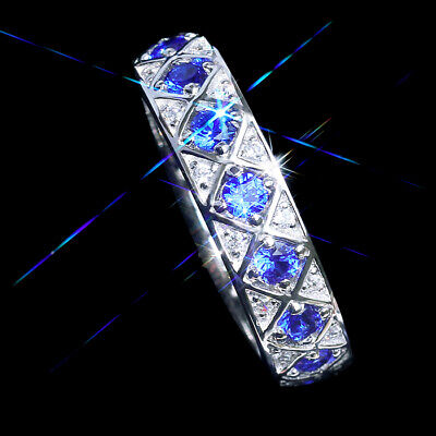 1.6Ct 100% Natural Diamond Sapphire 10K Gold Cluster Ring EFFECT 3Ct RWG174-4