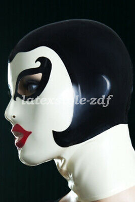 Gummi Maske Mysterious White and Black Unique Cool Headgear Latex Rubber 0.4mm