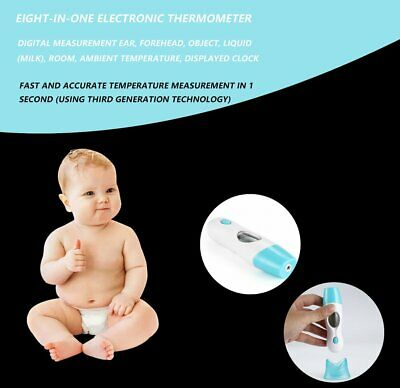 8 in 1 Digital LED Infrared Thermometer Ear and Forehead For Family Baby Kids N