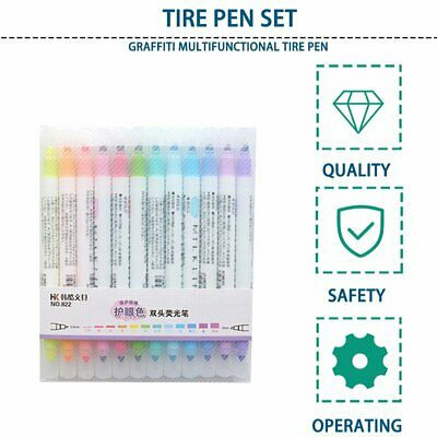 12 Colors Double-head Highlighter Set Decorative Marking Pen For Student NC