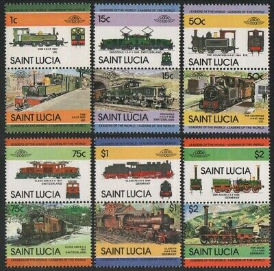 St. Lucia 1984 - Mi-Nr. 672-683 ** - MNH - Lokomotiven / Locomotives