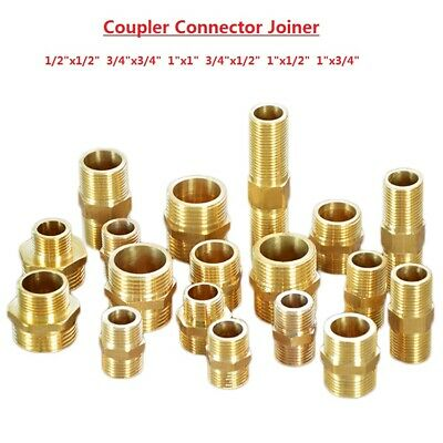 """BSP 1/2"""" 3/4"""" 1"""" Male Thread Brass Coupler Connector Joiner Fitting Adapter"""
