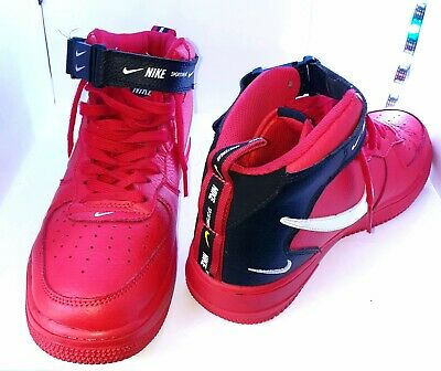 NIKE AIR FORCE 1 MID HIGH '07 Trainers AF1 Leather Red, UK 7.5 (EUR 42) RRP £230