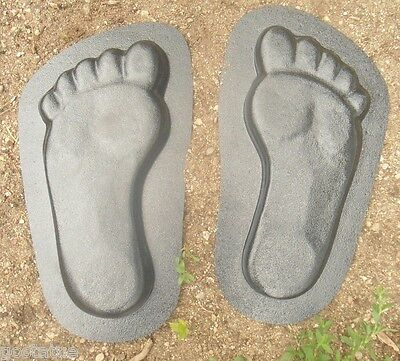 "Feet footprint molds plaster concrete resin casting 13""L x 7"" x 1"" thick"
