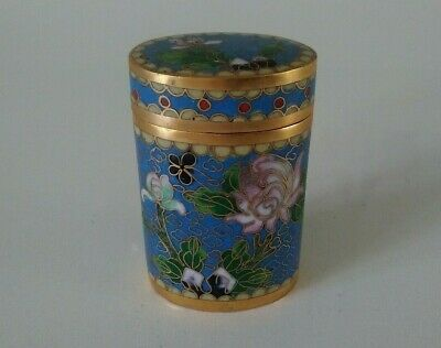 Vintage Chinese Cloisonne Enamel Box Blue Oval 6cm tall Excellent Condition