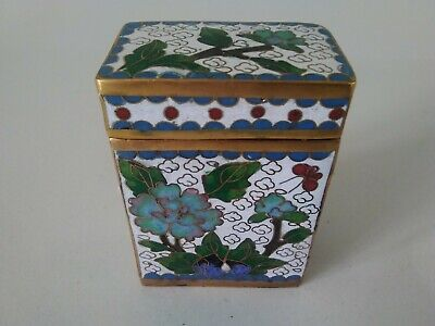 Vintage Chinese White Rectangular Cloisonne Enamel Box Excellent Condition