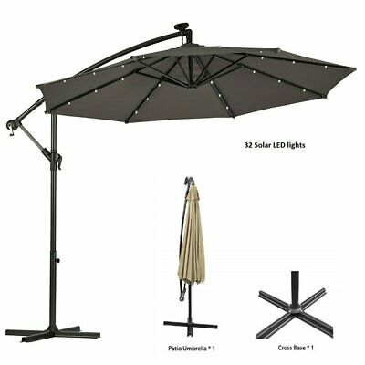 3M 32 LED Parasol Hanging Banana Patio Umbrella for Garden Cantilever Sun Shade