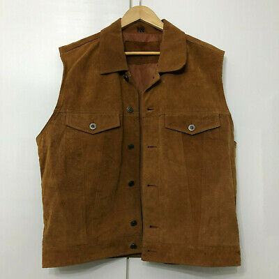 Vintage Western Style Waistcoat Buttoned Classic Retro Brown