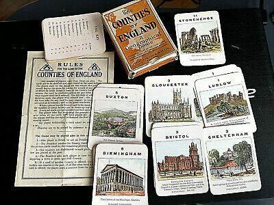 Counties of England Geographical Card Game Old Vintage Antique Complete Retro UK