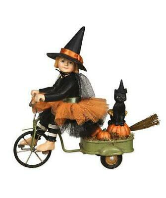 Bethany Lowe Izzies Halloween Ride Girl Witch On Bike with Black Cat  TD 7640