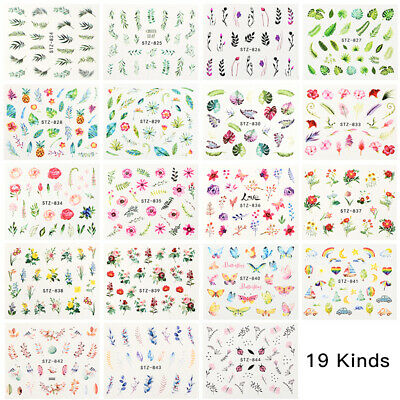 3D Nail Art Water Decals Transfer Stickers Flower Leaf Nails Decoration Tips DIY