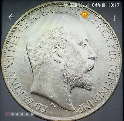 Nice Edward Vii 1902 Silver Plated Crown Coin In Unc