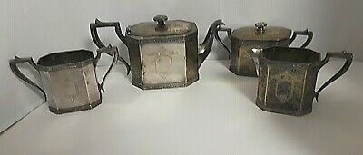 Antique Sheffield Silver Plate Tea Set Art Deco Teapot Creamer 2 Sugar Hallmark