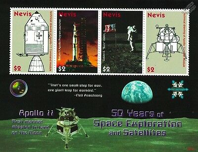 APOLLO XI Moon Landing / 50 Years of Space Exploration Stamp Sheet / 2008 Nevis