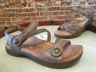 Earth Origins Alpaca Brown Leather Salina Braided Adjustable Strap Sandals NEW