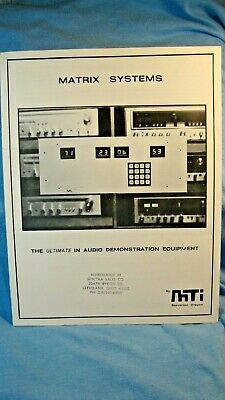 1978 Matrix Systems Ultimate Audio Demonstration Booklet with Specs MS-4000 ++
