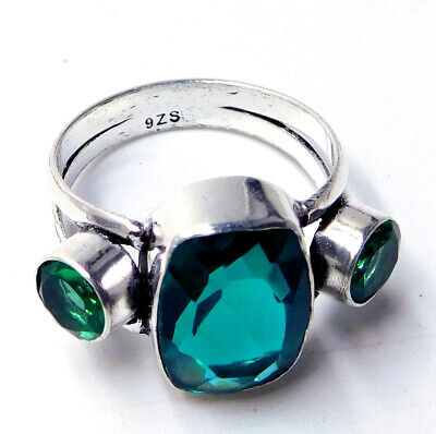 Emerald Quartz 925 Sterling Silver Plated Handmade Jewelry Ring Us Size 7