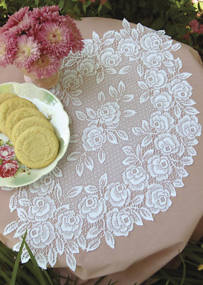 "SET OF 2 Heritage Lace White TEA ROSE 14""x24"" Doilies"