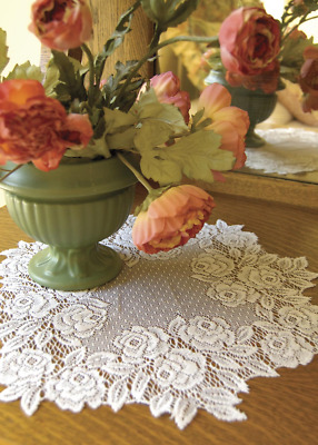 "SET OF 2 Heritage Lace White TEA ROSE 14"" Round Doilies"