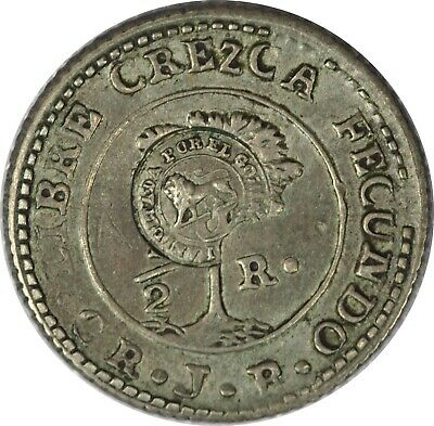 1849-57 Costa Rica 1/2 Real Counterstamped AU - VERY RARE